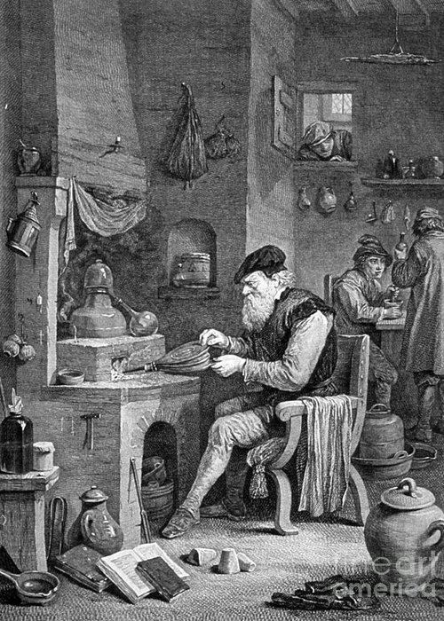 History Greeting Card featuring the photograph The Chemist, 17th Century by Science Source
