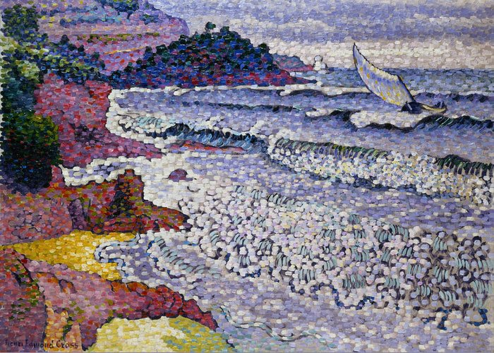 Pointillism Greeting Card featuring the painting The Choppy Sea by Henri-Edmond Cross
