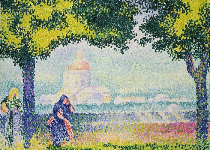 The Church Of Santa Maria Degli Angeli Greeting Card featuring the painting The Church Of Santa Maria Degli Angeli by Henri-Edmond Cross