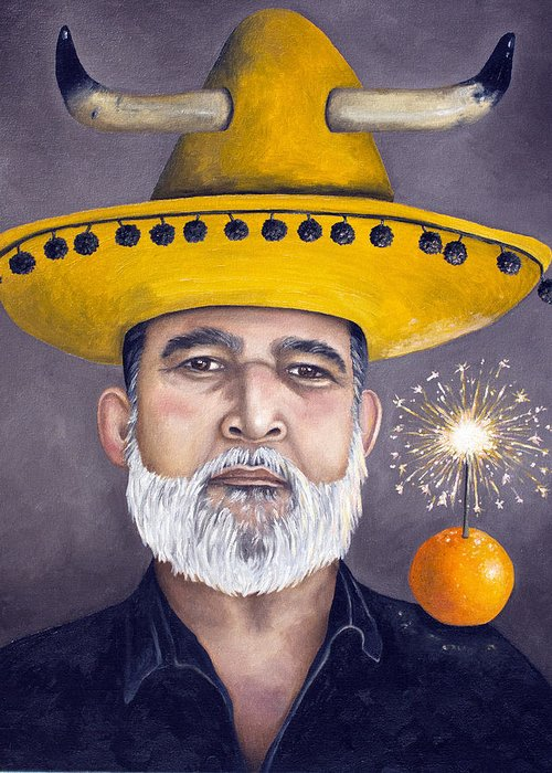 Sombrero Greeting Card featuring the painting The Competitive Sombrero Couple 2 by Leah Saulnier The Painting Maniac