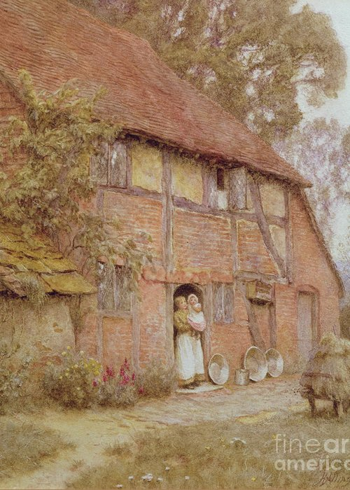 The Cottage With Beehives Greeting Card featuring the painting The Cottage With Beehives by Helen Allingham