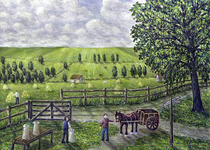 Dairy Farm Greeting Card featuring the painting The Dairy Farm by Ronald Haber