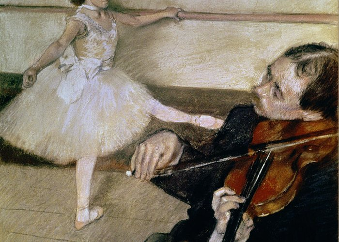 Dancing; Learning; Ballet; Music; Violin; Tutu; Impressionist; Violinist; Practice; Pose Greeting Card featuring the pastel The Dance Lesson by Edgar Degas