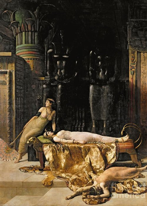 Tigerskin; Fan Greeting Card featuring the painting The Death Of Cleopatra by John Collier