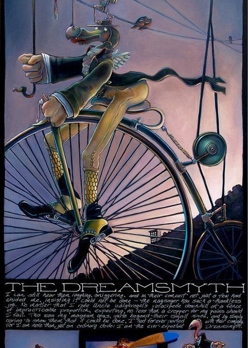 Velocipede Greeting Card featuring the painting The Dreamsmyth by Patrick Anthony Pierson