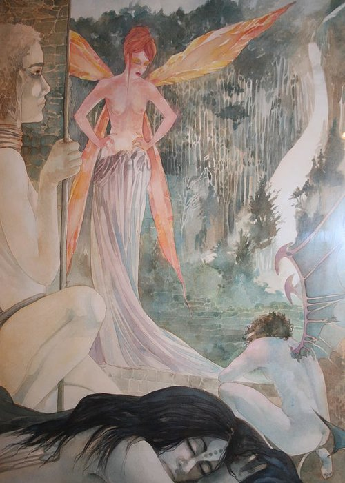 Fairies Demons Dreams Sleep  Greeting Card featuring the drawing The Exile by Jackie Rock