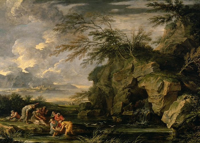 The Greeting Card featuring the painting The Finding Of Moses by Salvator Rosa