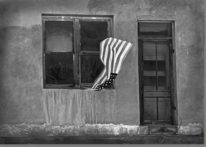 Mixed Media. Mixed Media Black And White Photography. Mixed Media Usa Flags. Fine Art America Flags. Fine Art Greeting Cards. Fine Art Flag Greeting Cards. Old Buildings. Old Doors. Old Windows. Antique Doors. Antique Windows. Mixed Media Digthal Photography. Screen Doors. Flag Photography. Window Photography. Black And White Greeting Cards. Old Black And White Buildings. Greeting Card featuring the photograph The Flag A Window And A Door by James Steele