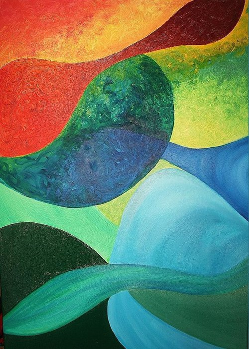 Four Greeting Card featuring the painting The Four Elements by Derya Aktas