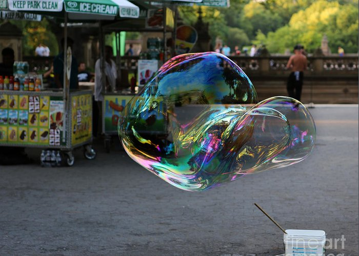 Lee Dos Santos Greeting Card featuring the photograph The Giant Bubble At Bethesda Terrace by Lee Dos Santos