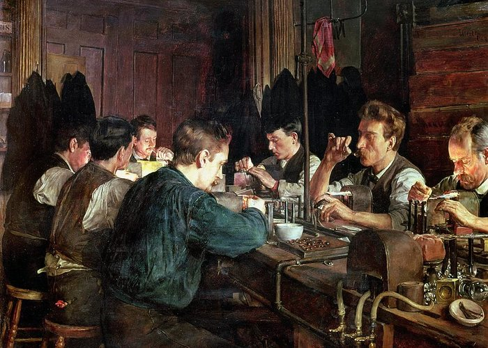 Industry; Blowing; Factory; Working; Blower; Glassblower Greeting Card featuring the painting The Glass Blowers by Charles Frederic Ulrich