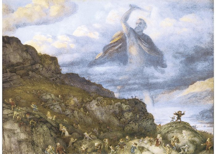 Richard Doyle Greeting Card featuring the painting The God Thor And The Dwarves by Richard Doyle