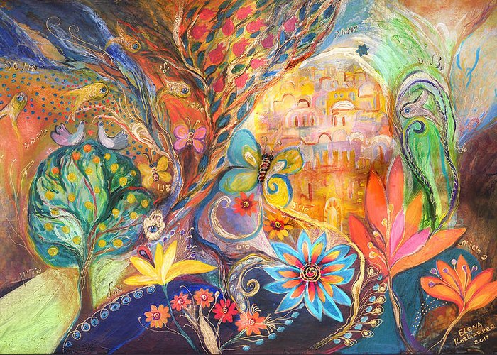 Original Greeting Card featuring the painting The Golden Jerusalem by Elena Kotliarker