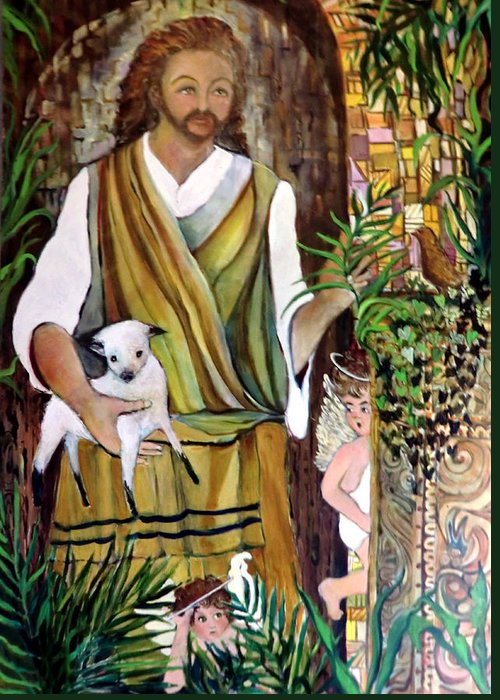 Jesus Greeting Card featuring the painting The Good Shephard At The Door by Mindy Newman
