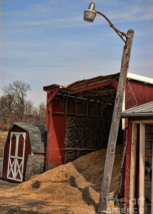 Red Greeting Card featuring the photograph The Grain Barn by Paul Ward