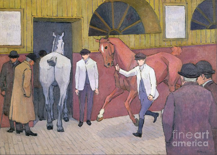 Xyc153932 Greeting Card featuring the photograph The Horse Mart by Robert Polhill Bevan