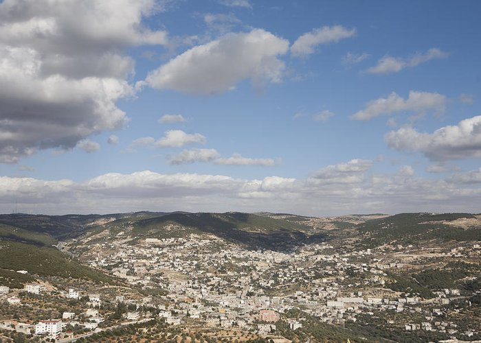 Ajloun Greeting Card featuring the photograph The Jordanian Countryside And The Town by Taylor S. Kennedy