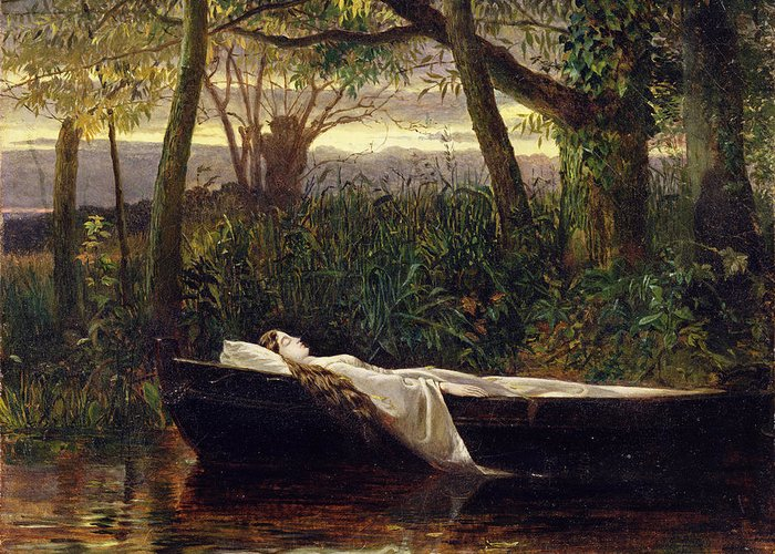 Lady Greeting Card featuring the painting The Lady Of Shalott by Walter Crane