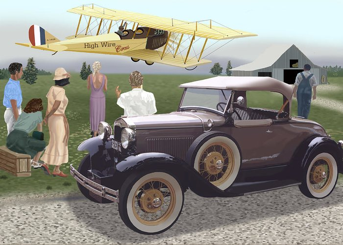 A Model A Owner And His Girl Stop To View A Curtis Jenny Do Its Stunts. Greeting Card featuring the digital art The Last Barnstormer by Richard Herron