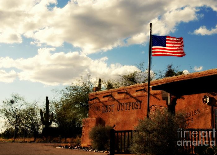 The Last Outpost Greeting Card featuring the photograph The Last Outpost Old Tuscon Arizona by Susanne Van Hulst