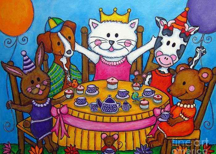 Kitten Greeting Card featuring the painting The Little Tea Party by Lisa Lorenz