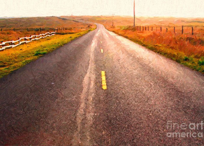 Philosophical Greeting Card featuring the photograph The Long Road Home . Painterly Style by Wingsdomain Art and Photography