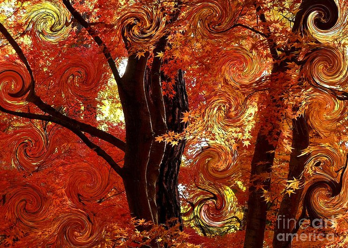 Abstract Greeting Card featuring the photograph The Magic Of Autumn - Digital Abstract by Carol Groenen