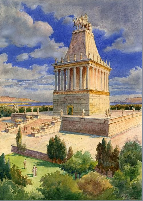 The Mausoleum At Halicarnassus; Seven Wonders Of The Ancient World; Mausoleum; Halicarnassus; King Of Caria Greeting Card featuring the painting The Mausoleum At Halicarnassus by English School