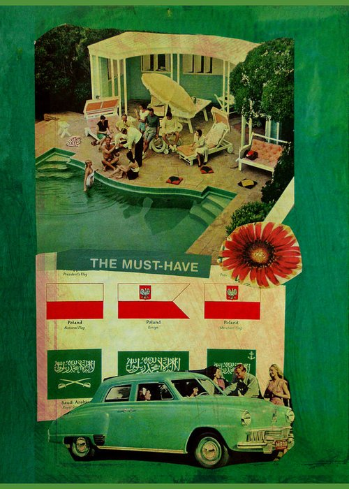 Collage Greeting Card featuring the mixed media The Must Have by Adam Kissel