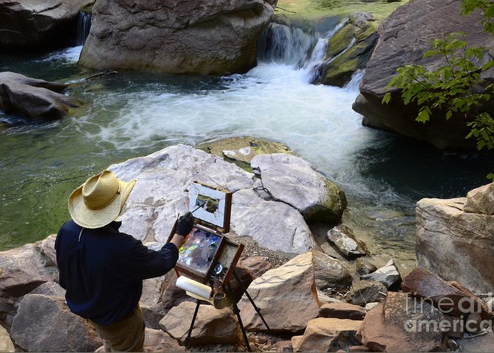 Virgin River Greeting Card featuring the photograph The Narrows Quality Time by Bob Christopher
