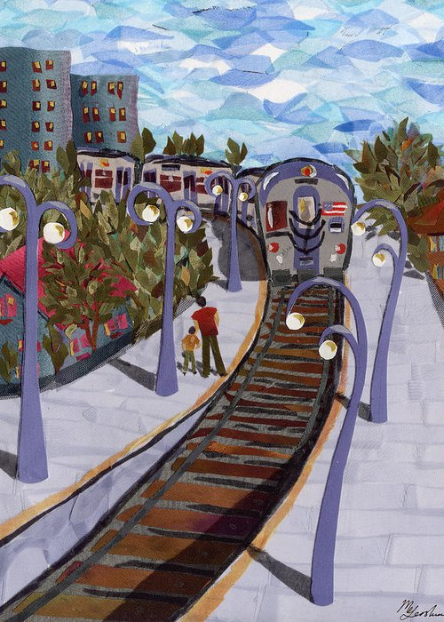 Train Greeting Card featuring the tapestry - textile The Next Stop Is... by Marina Gershman