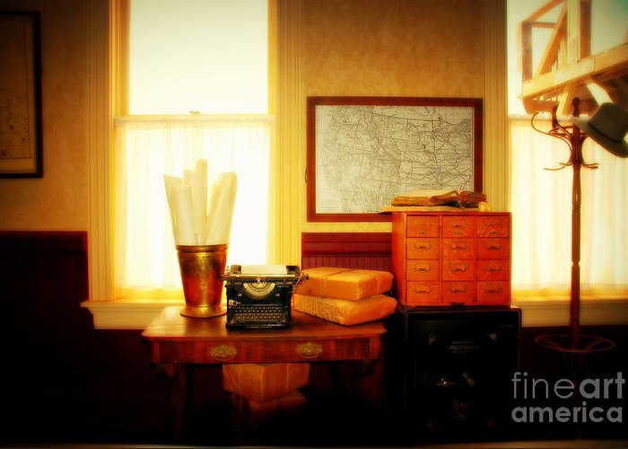 The Office Greeting Card featuring the photograph The Office Old Tuscon Arizona by Susanne Van Hulst