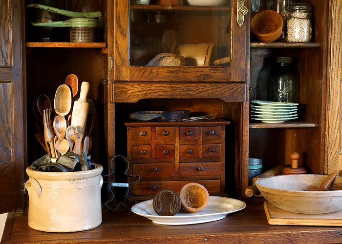 Hoosier Cabinet Greeting Card featuring the photograph The Old Baker by Carmen Del Valle