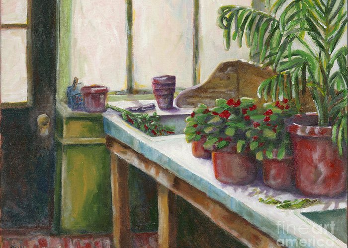 Biltmore Mansion Greeting Card featuring the painting The Old Garden Shed by Judith Whittaker