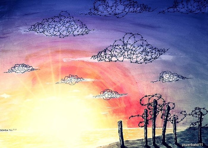 The Pain Greeting Card featuring the digital art The Pain Of Sky That Will Never Be Calm by Paulo Zerbato