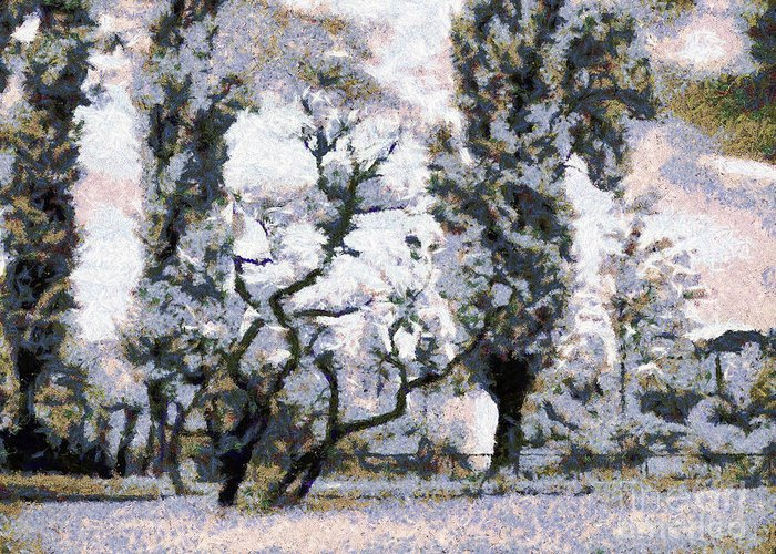 Odon Greeting Card featuring the painting The Park by Odon Czintos