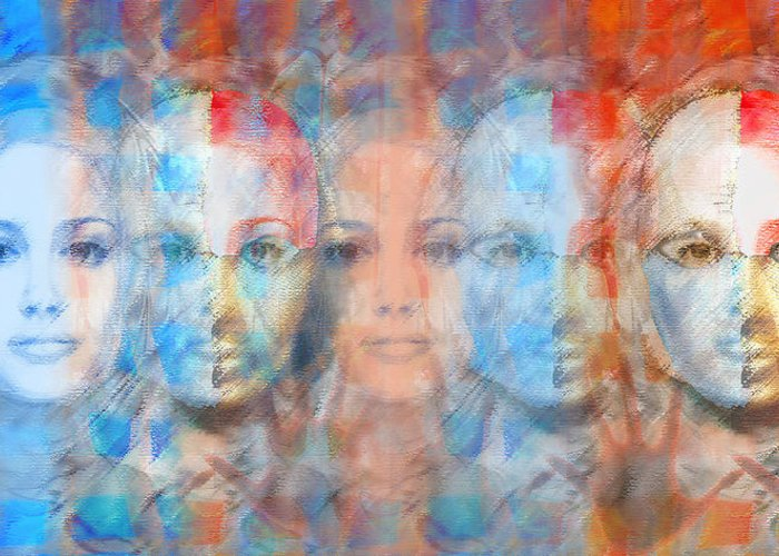 Face Greeting Card featuring the digital art The Passage Fragment by Andrea Ribeiro