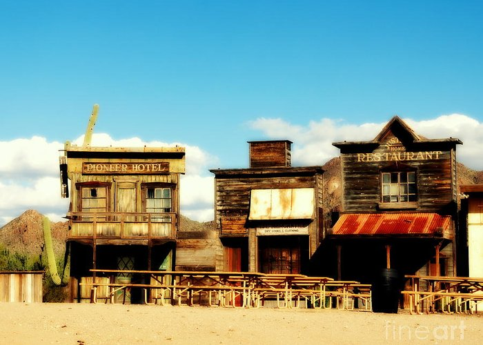 The Pioneer Hotel Greeting Card featuring the photograph The Pioneer Hotel Old Tuscon Arizona by Susanne Van Hulst