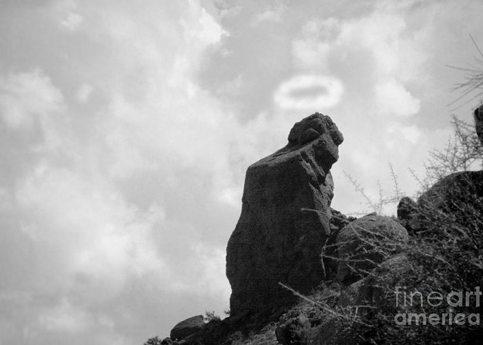'praying Monk' Greeting Card featuring the photograph The Praying Monk With Halo - Camelback Mountain Bw by James BO Insogna