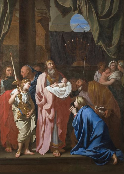 The Greeting Card featuring the painting The Presentation Of Christ In The Temple by Charles Le Brun