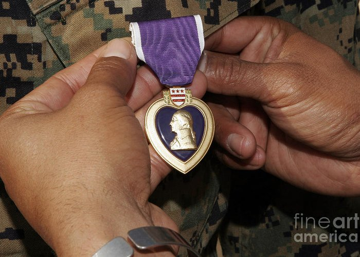 Close-up Greeting Card featuring the photograph The Purple Heart Award by Stocktrek Images
