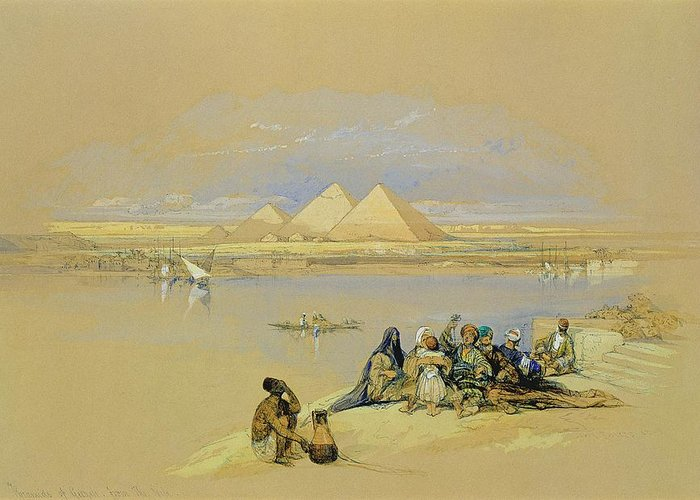 River; Nile Greeting Card featuring the painting The Pyramids At Giza Near Cairo by David Roberts