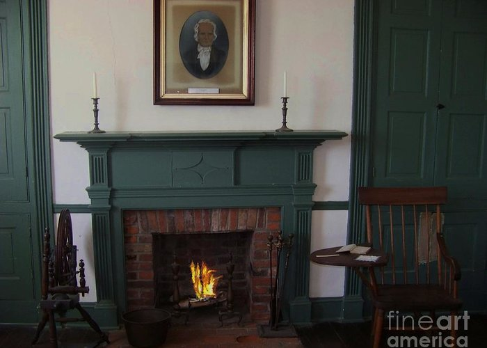 Rankin House Greeting Card featuring the photograph The Rankin Home Fireplace by Charles Robinson