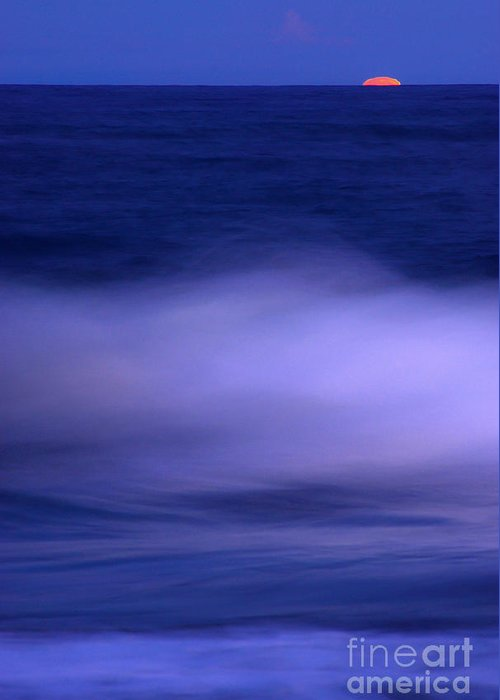 Sea Greeting Card featuring the photograph The Red Moon And The Sea by Hannes Cmarits