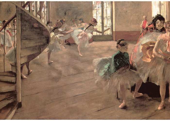 The Rehearsal Greeting Card featuring the painting The Rehearsal by Edgar Degas