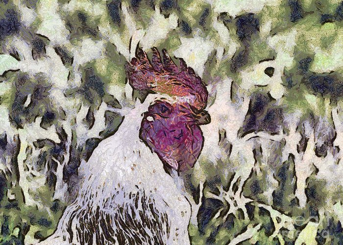 Nature Greeting Card featuring the painting The Rooster Portrait by Odon Czintos