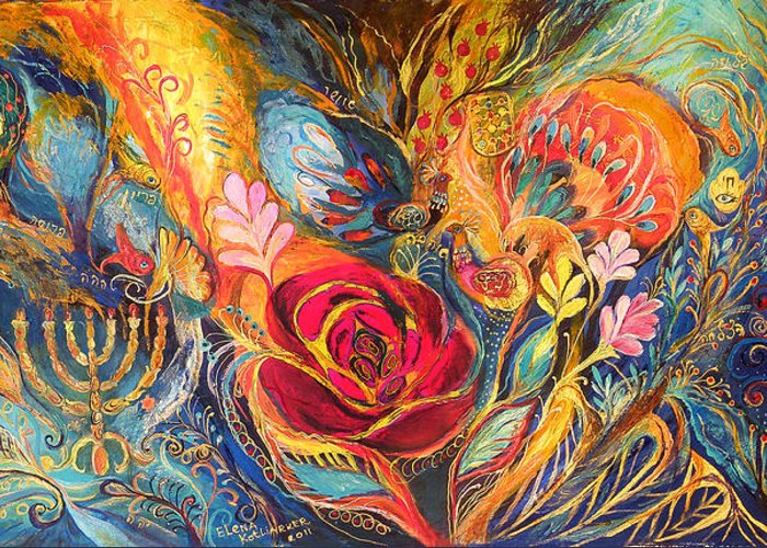 Original Greeting Card featuring the painting The Rose Of East by Elena Kotliarker