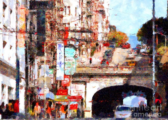 San Francisco Greeting Card featuring the photograph The San Francisco Stockton Street Tunnel . 7d7355 by Wingsdomain Art and Photography