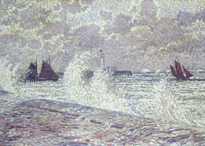 Sea Greeting Card featuring the painting The Sea During Equinox Boulogne-sur-mer by Theo van Rysselberghe