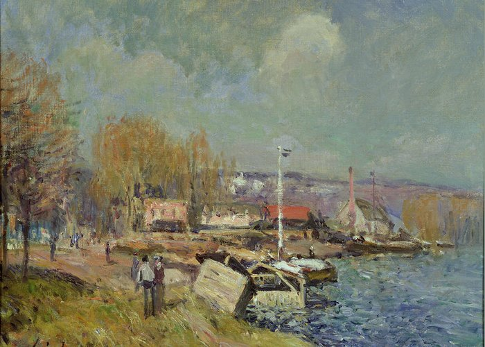 The Greeting Card featuring the painting The Seine At Port-marly by Alfred Sisley
